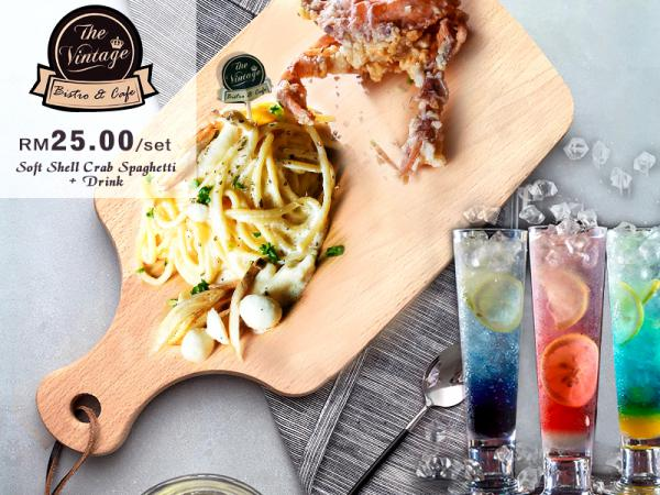 RM25 for Vintage's Soft Shell Crab Spaghetti + Soda Drink (worth RM36.80)